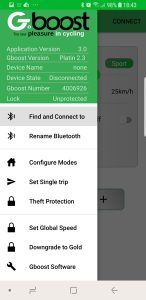 GboostV6 phone app menue